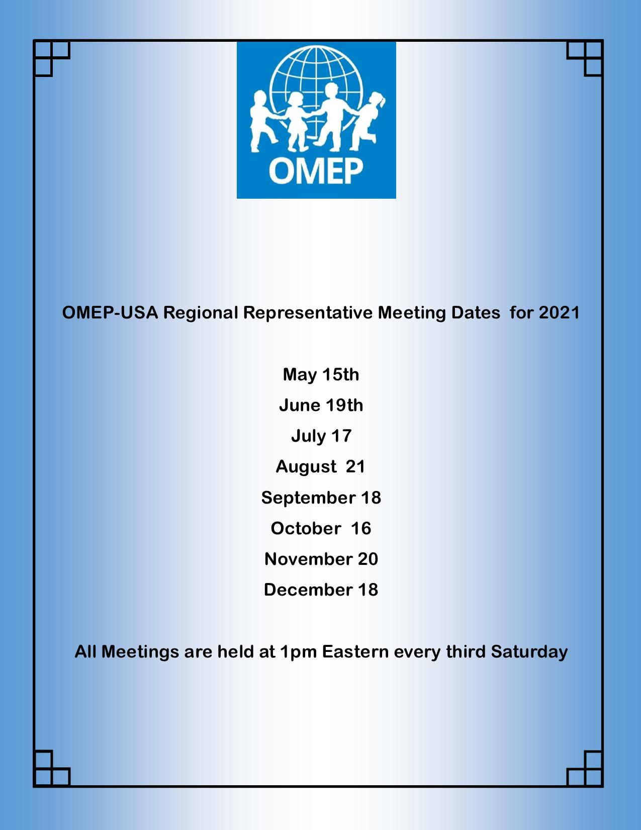 Meeting Dates for Regional Representatives